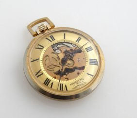 """Majestime 17 Jewels """"skeleton"""" Open Face Pocket Watch,"""