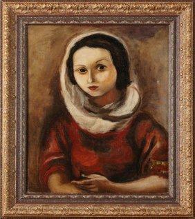 "American School, ""portrait Of A Woman In A Red Dress,"""