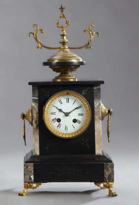 French Inlaid Black Marble Mantle Clock, 19th C., By