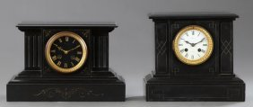 Two French Black Marble Mantle Clocks, 19th C., Both Of