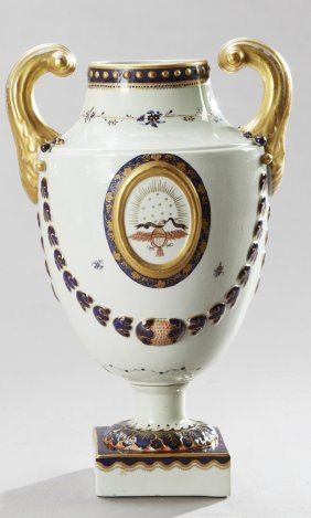 Chinese Export-style Porcelain Pistol-handled Urn, 20th
