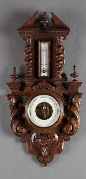 French Henri Ii Style Carved Walnut Barometer, Late