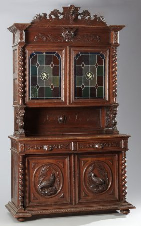 French Louis Xiii Style Carved Oak Stained Glass Buffet