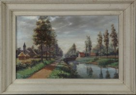 """A. Guinchan, """"tree Lined Canal Scene,"""" Early 20th C.,"""