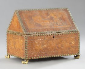 Continental Tooled Leather Letter Box, Early 20th C.,
