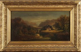 """French School, """"lake Landscape,"""" 19th C., Oil On"""