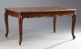 French Louis Xv Style Parquetry Inlaid Dining Table,