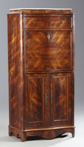 French Empire Style Carved Rosewood And Mahogany Bombe