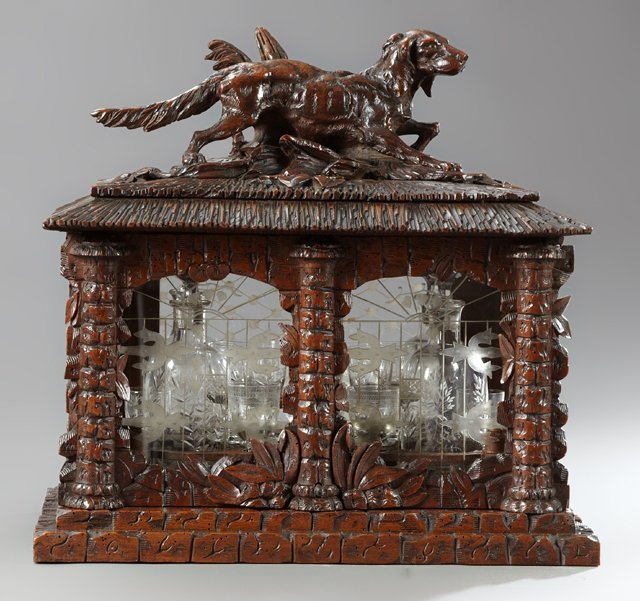 Unusual Carved Walnut Black Forest Liqueur Set, 19th