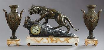 Patinated Spelter and Marble Figural Clock Set, 19th