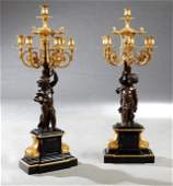 Exceptional Pair of Gilt and Patinated Bronze and