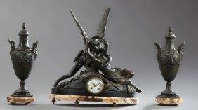 Patinated Spelter Three Piece Clock Set, 19th C., 19th