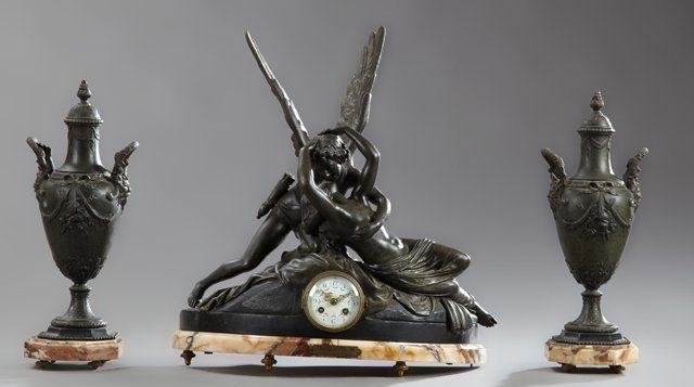 Patinated Spelter Three Piece Clock Set, 19th c., 19th