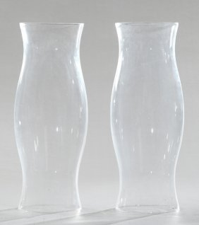 Pair Of Blown Glass Hurricane Shades, Early 20th C.,
