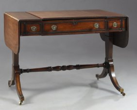 Edwardian Inlaid Walnut Dropleaf Dressing Table, C.