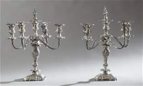 Pair of Silverplated Five Light Candelabra, early 20th