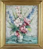 "Ann Cochran ( -1968), ""Still Life of Flowers in a White"