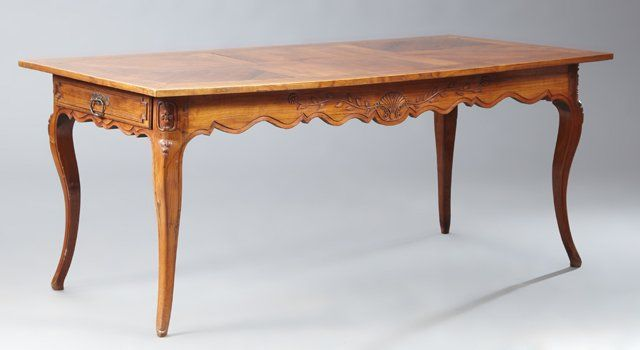 French Provincial Louis XV Style Carved Walnut, Elm and
