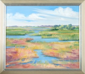 "Kathy Brombacher, ""cocodrie Marsh,"" 2001, Oil On"