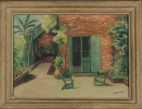 """A. Reynolds Tuttle, """"french Quarter Patio,"""" 20th C.,"""