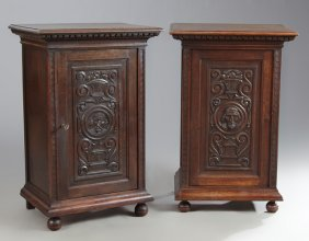 Pair Of Victorian Renaissance Style Carved Oak