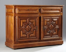 French Provincial Louis Xiv Style Carved Cherry