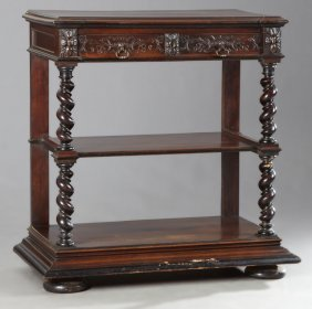 French Henri Ii Style Carved Walnut Marble Top Trolley,