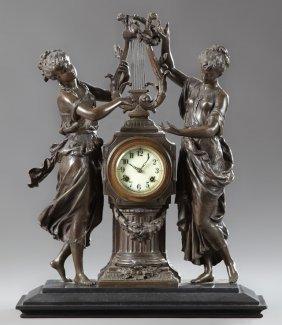 Patinated Spelter Figural Waterbury Mantel Clock, Late