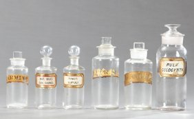 Group Of Six Glass Apothecary Bottles, 19th C., Three