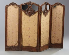 French Louis Xv Style Carved Walnut Four Panel Fire