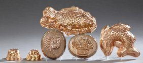 Group Of Six English Copper Jelly Molds, 20th C., Two
