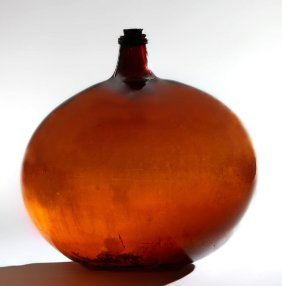Blown Amber Glass Wine Carboy, 19th C., From A Bordeaux