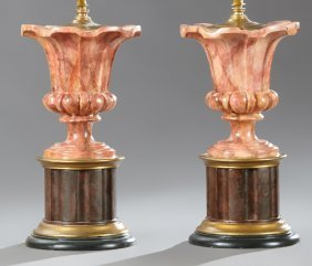 Pair Of Neoclassical-style Urn-form Lamps, The Tops