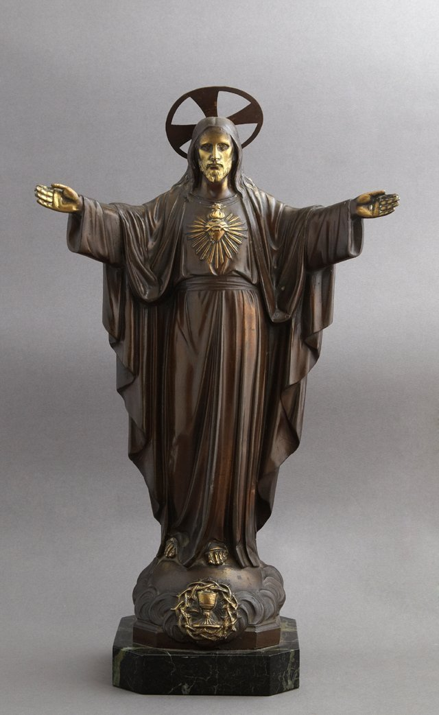 Large Patinated Spelter Figure of Jesus and the Sacred