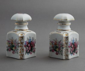 Pair Of Diminutive Old Paris Porcelain Perfume Bottles,