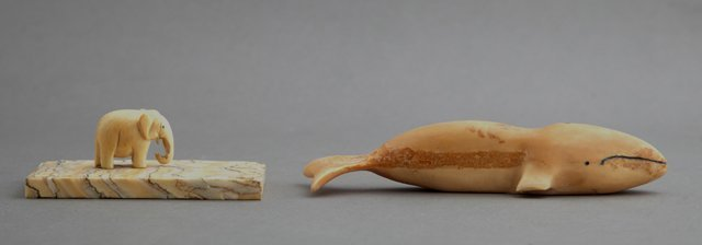 Inuit Carved Ivory Tupilak of a Whale, together with a