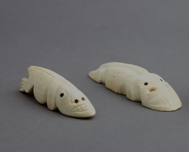 Two Inuit Carved Ivory Tupilak Figures of Crocodiles,