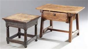 Two French Provincial Milking Stools, 19th c., one