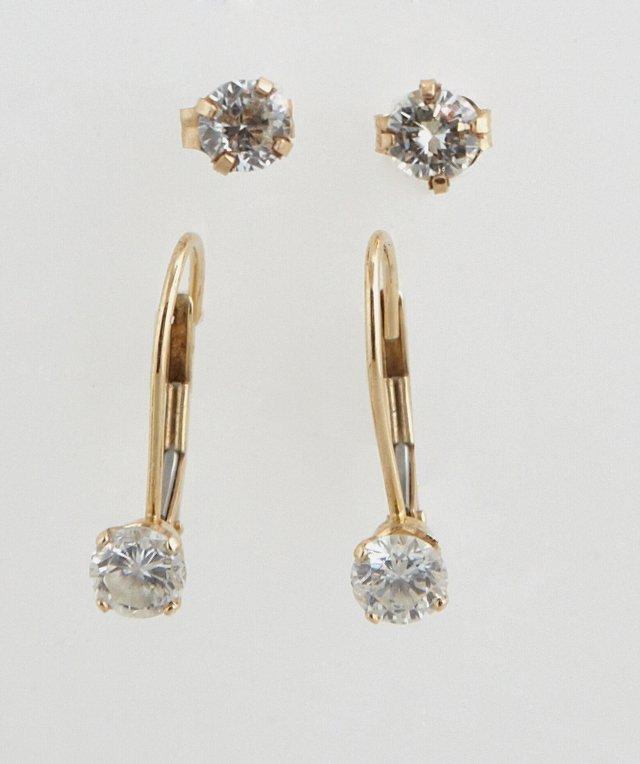 Pair of 14K Yellow Gold Diamond Stud Earrings, total