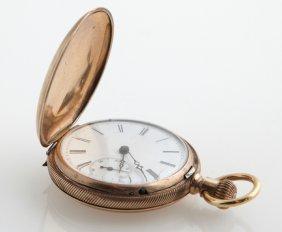 18k Yellow Gold Elgin Hunting Case Pocket Watch, Ser #