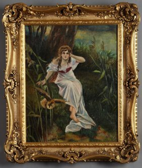 "American School, ""woman In The Forest,"" C. 1900, Oil On"