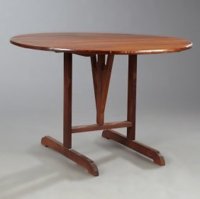 French Provincial Carved Cherry Wine Tasting Table,