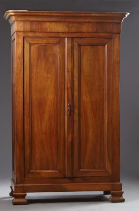 French Louis Philippe Carved Walnut Armoire, Mid 19th