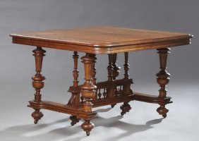 Henri Ii Style Carved Oak Dining Table, The Square Top
