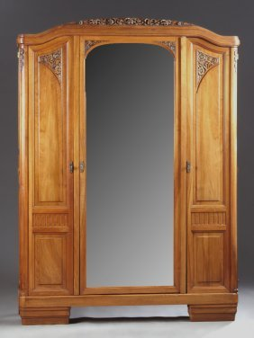 French Art Deco Carved Walnut Armoire, The Floral Crest