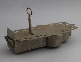 Rare French Wrought Iron Coffer Lock, 18th C., With