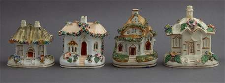 Group of Four English Staffordshire Cottage Pastille