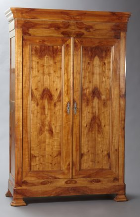 French Louis Philippe Carved Cherry Double Door