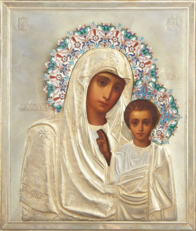 Fine Russian Icon of the Kazan Mother of God,