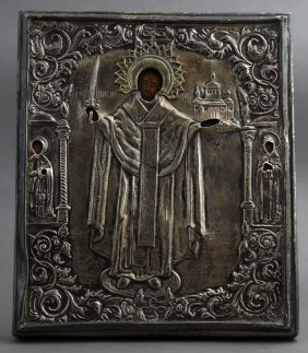 Russian Icon, 19th C., Of St. Michael, Flanked By Mary
